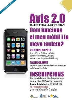 'Avis 2.0', taller gratuït adreçat a gent gran per aprendre a fer anar mòbils i tauletes