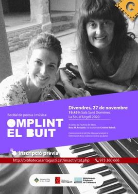 'Omplint el buit', recital de poesia i piano amb l'escriptora Rosa M. Arrazola i la pianista Cristina Rabell