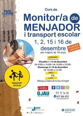 Curs de monitor de menjador i d'acompanyament de transport escolars a l'Alt Urgell