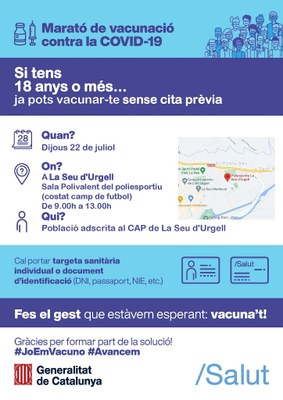Davant la situació epidemiològica a la Seu d'Urgell, l'Ajuntament demana a la població que extremi les mesures preventives, i que no dubti en vacunar-se