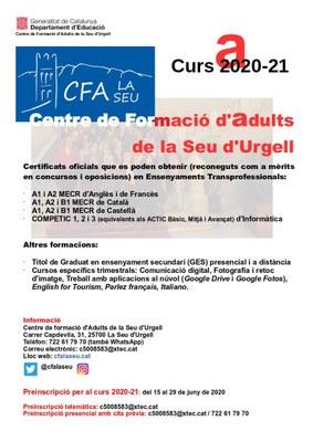 El Centre de Formació d'Adults de la Seu d'Urgell obre inscripcions per al curs 2020-21 el pròxim dilluns 15 de juny