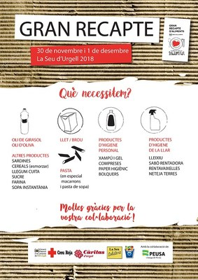 El Consorci d'Atenció a les Persones anima als alturgellencs a fer arribar, un any més, la seva solidaritat al Gran Recapte d'Aliments