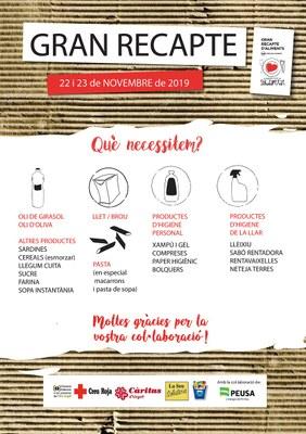 El Consorci d'Atenció a les Persones anima els alturgellencs a fer arribar, un any més, la seva solidaritat al Gran Recapte d'Aliments