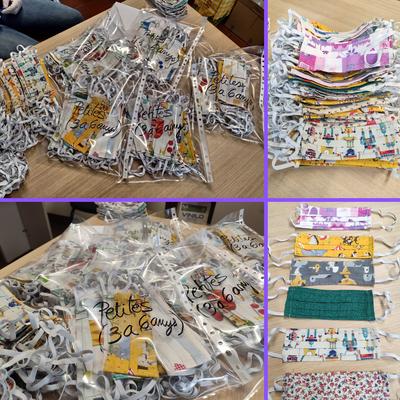 El grup de cosidores voluntàries de la Seu d'Urgell elabora 1.500 mascaretes casolanes infantils que es repartiran de manera gratuïta