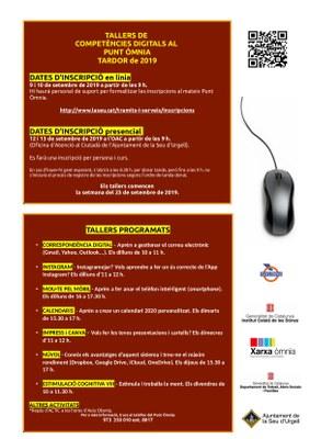 El Punt Òmnia de la Seu d'Urgell ofereix per aquesta tardor 7 nous tallers de competències digitals