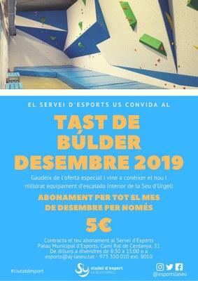 El Servei d'Esports ofereix un tast de búlder durant el mes de desembre per 5 euros