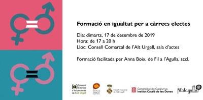 Formació en igualtat adreçada a càrrecs electes de l'Alt Urgell