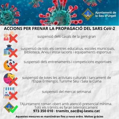 L'Ajuntament de la Seu d'Urgell decreta mesures preventives, de protecció i organitzatives del Consistori