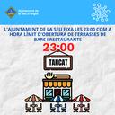 L'Ajuntament de la Seu d'Urgell fixa les onze de la nit com a hora límit d'obertura de les terrasses de bars i restaurants