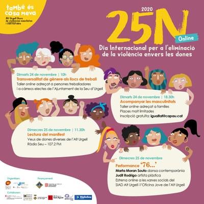 L'Alt Urgell commemorà enguany el Dia Internacional per a l'Eliminació de la Violència envers les Dones de manera online