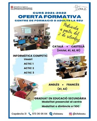 L'Escola d'Adults de la Seu d'Urgell ja ha obert el període de matriculació pel curs 2021-2022