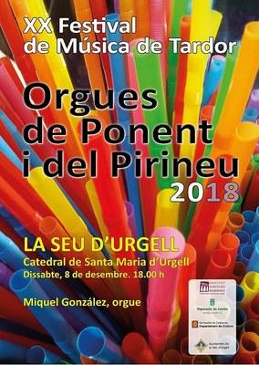 La Catedral de Santa Maria d'Urgell acull el concert d'orgue del XX Festival d'Orgues de Ponent i del Pirineu
