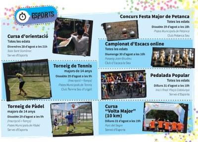 La Festa Major 'Atípica' de la Seu proposa 7 activitats esportives que es podran gaudir amb seguretat