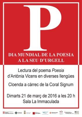 La Seu celebra el Dia Mundial de la Poesia amb la lectura, en diferents idiomes, d'un poema d'Antònia Vicens