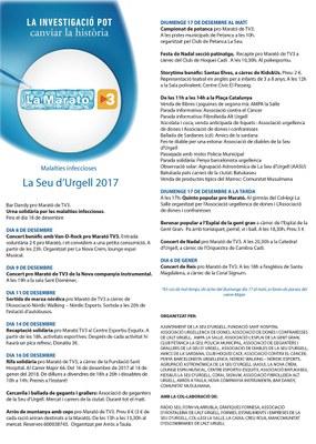 La Seu d'Urgell ja té engegat el programa d'activitats a favor de La Marató de TV3