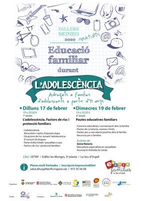 Nou Taller MONEO sobre educació familiar durant l'adolescència que es realitzarà en dues sessions