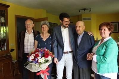 L'Ajuntament de la Seu d'Urgell felicita al padrí Antonio Bollo Novensà pels seus 102 anys