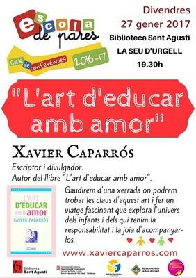 'L'art d'educar amb amor', nova xerrada de l'Escola de Pares amb Xavier Caparrós