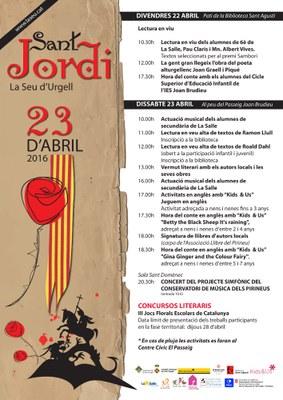 Lectures en viu, hora del conte, signatures de llibres i actuacions musicals per celebrar Sant Jordi a la Seu