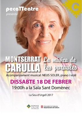 Montserrat Carulla porta a la Seu d'Urgell l'espectacle 'La música de les paraules'