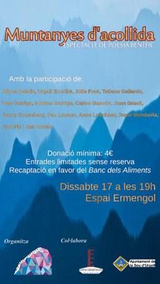 'Muntanyes d'acollida', espectacle benèfic de poesia, dansa i música a l'Espai Ermengol