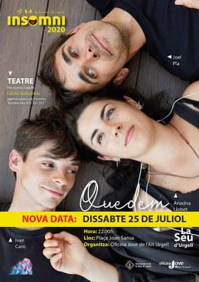Nova data per la representació teatral 'Quedem', sobre situacions d'amor en confinament