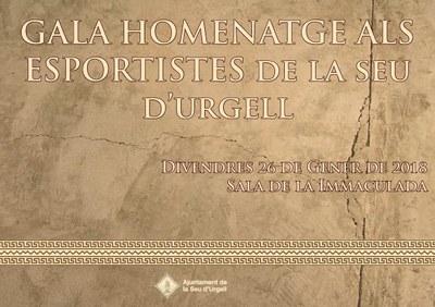 Nova gala per homenatjar a 39 esportistes de la Seu d'Urgell pels mèrits obtinguts durant el 2017