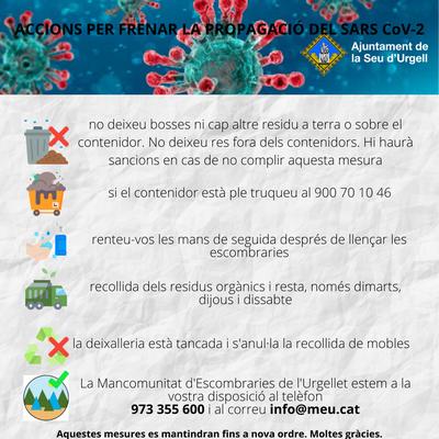Noves mesures preventives que s'apliquen a la Seu d'Urgell per frenar la transmissió del COVID19