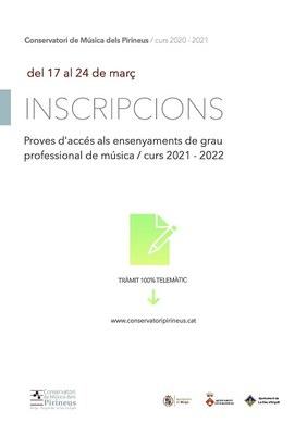 Obertes les preinscripcions per a la prova d'accés als estudis de Grau Professional de Música del Conservatori de música dels Pirineus