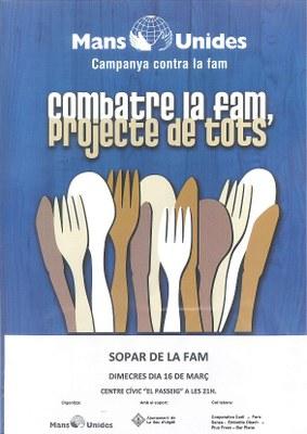 'Sopar de la Fam' a la Seu d'Urgell organitzat per Mans Unides
