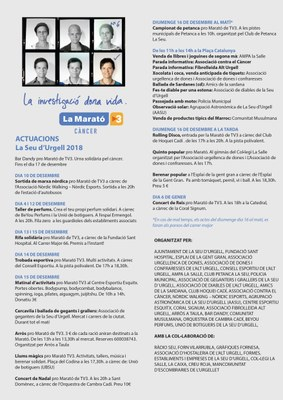 Tot a punt a la Seu d'Urgell per mobilitzar-se a favor de La Marató de TV3 amb prop d'una trentena d'activitats solidàries